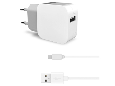 KEY USB-C 2.0 Vegglader 2.4A Hvit